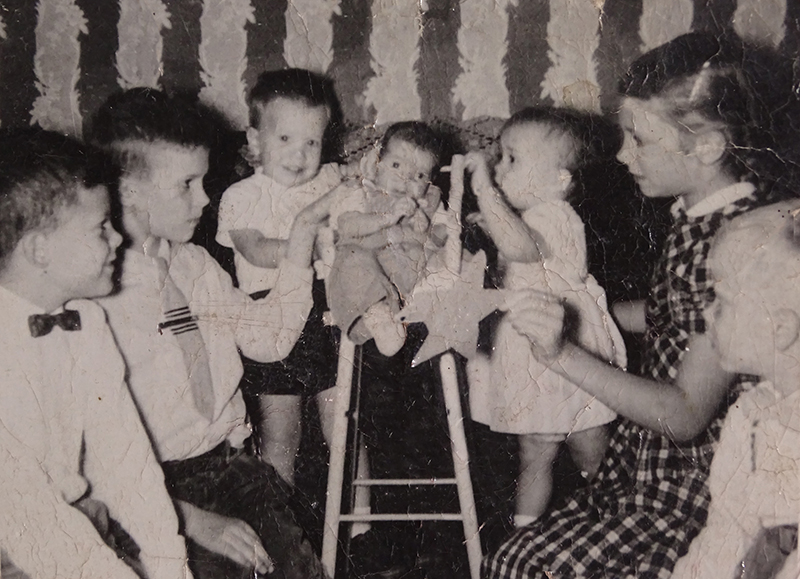 Siblings at Christmas, 1957
